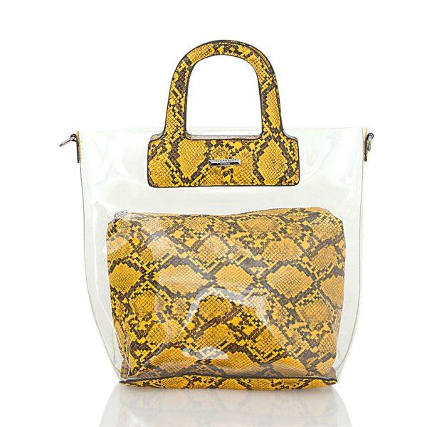 Τσάντα ώμου - χειρός με διαφάνεια - Κίτρινο Kate04