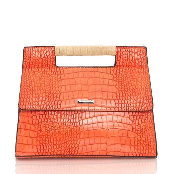 Τσάντα ώμου - χειρός - χιαστί με croco effect - Πορτοκαλί NH288630