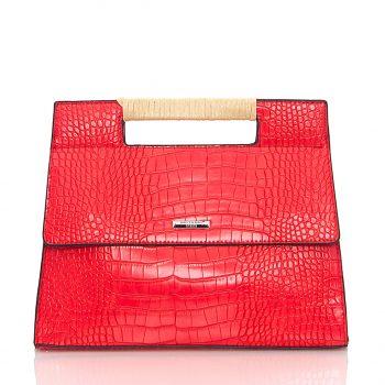 Τσάντα ώμου - χειρός - χιαστί με croco effect - Κόκκινο NH288603