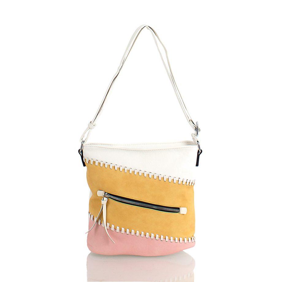 Τσάντα χιαστί τρίχρωμη– Άσπρο 502907