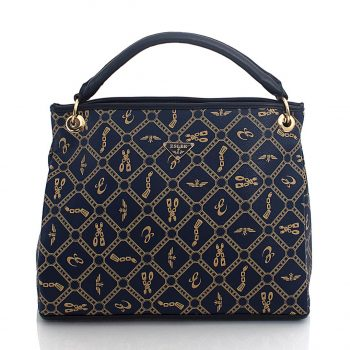 Τσάντα χιαστί-χειρός με γεωμετρικά σχέδια– Μπλε ES-895914