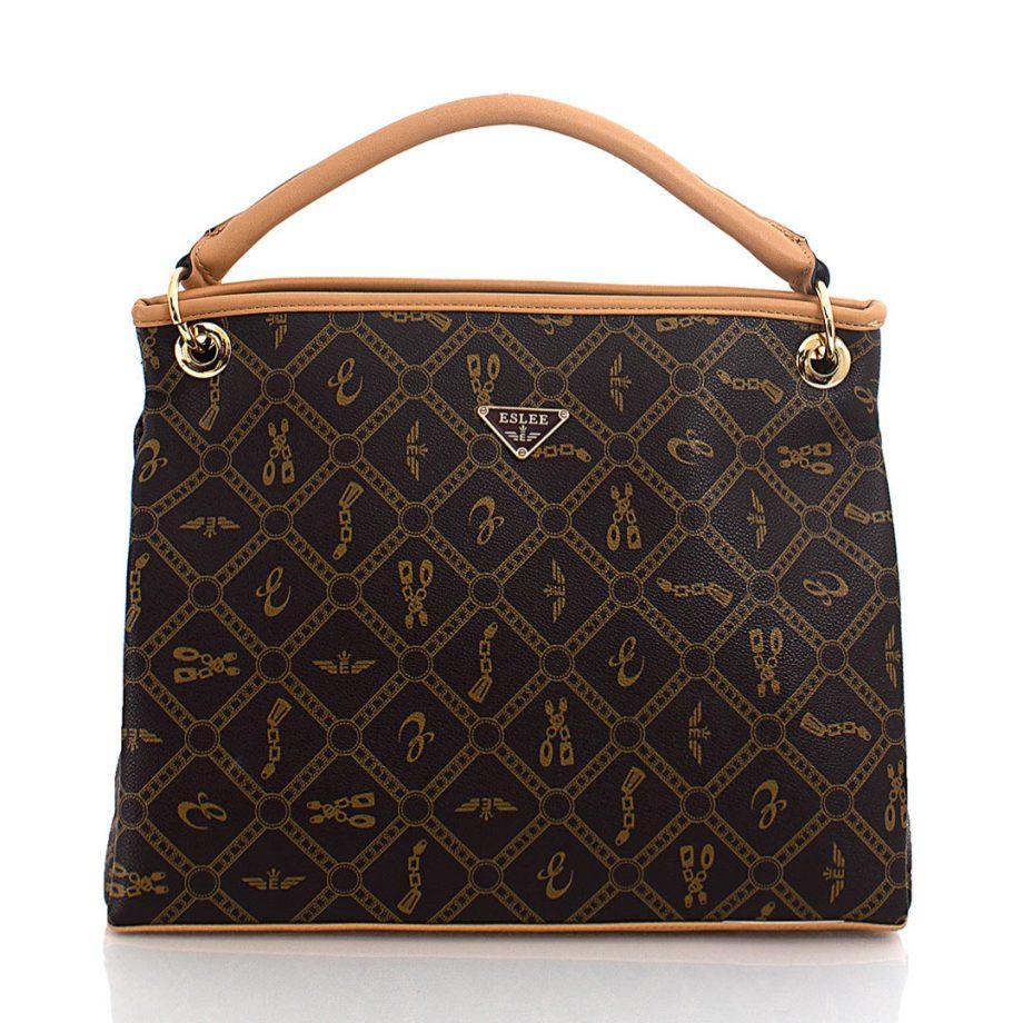 Τσάντα χιαστί-χειρός με γεωμετρικά σχέδια– Κάμελ ES-895902