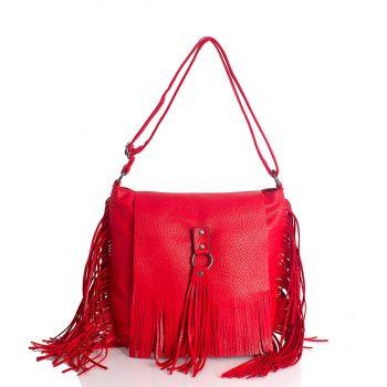 Τσάντα ώμου BagtoBag με κρόσσια– Κόκκινο SP2004503