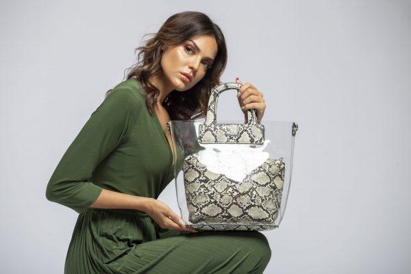 Τσάντα ώμου - χειρός με διαφάνεια - Χακί Kate11