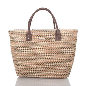 Τσάντα θαλάσσης ψάθινη Apricot DF-021111