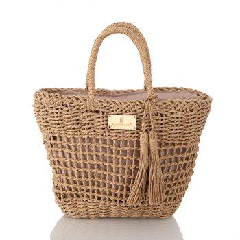 Τσάντα ψάθινη- Apricot CN827111