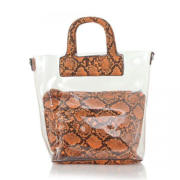 Τσάντα ώμου - χειρός με διαφάνεια - Πορτοκαλί Kate30
