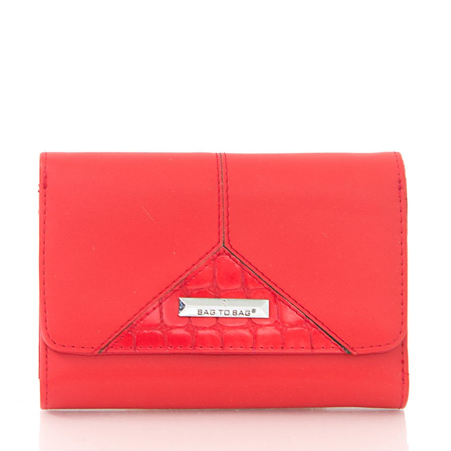 Πορτοφόλι με συνδυασμό υλικών- Κόκκινο AC-101703 Χρώμα: ΚΟΚΚΙΝΟ
